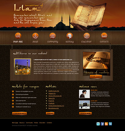 islam website template with flash animation 111061 simple templates