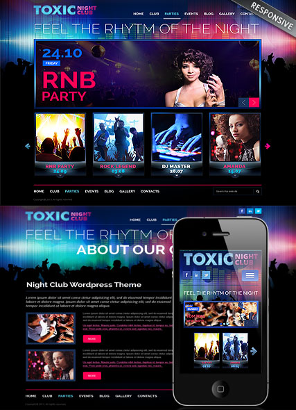 php homepage template - responsive night club wordpress theme 111684 simple